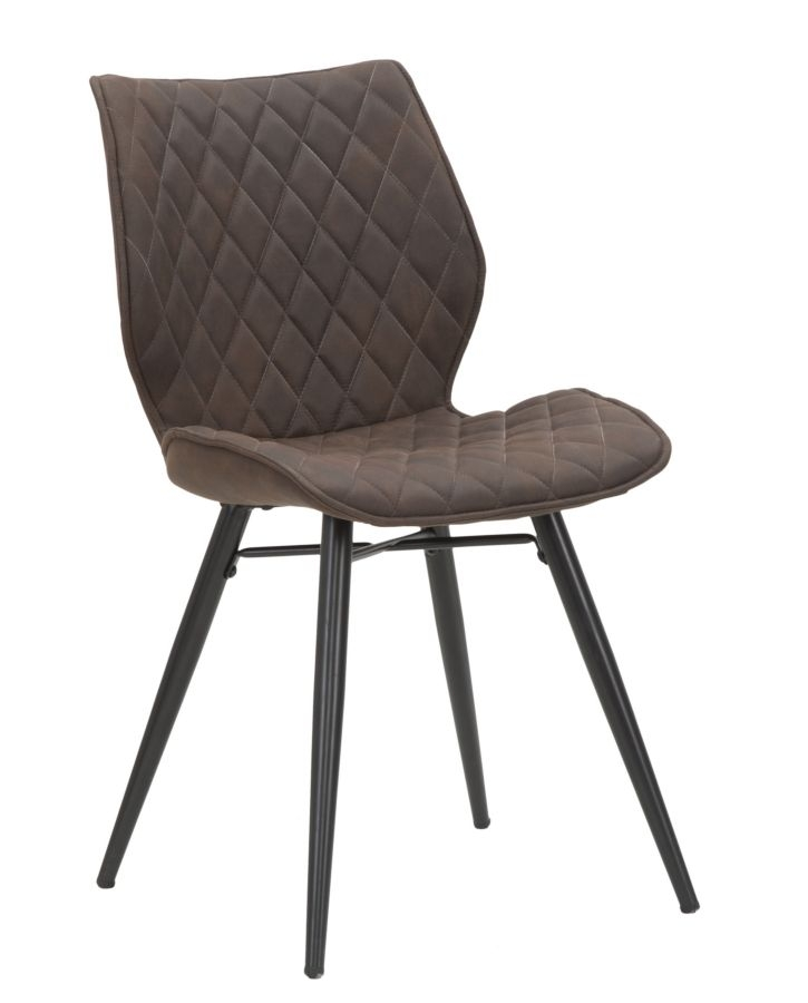 Set 2 scaune tapitate cu stofa cu picioare metalice Sedia Underground Brown, l47,5xA58xH84,5 cm