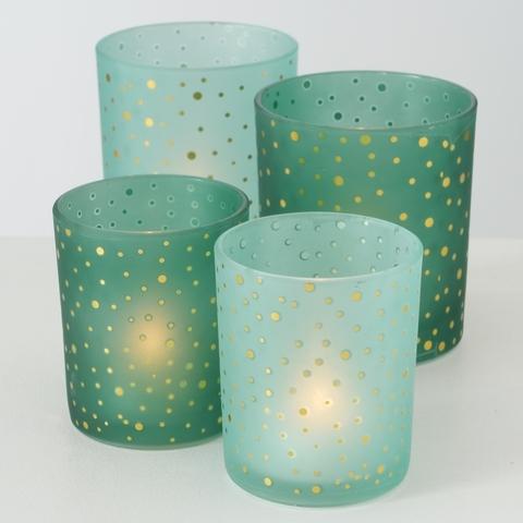 Set 2 suporturi pentru lumanari, din sticla Marit Verde, Modele Asortate, Ø7xH8 cm / Ø9xH10 cm imagine