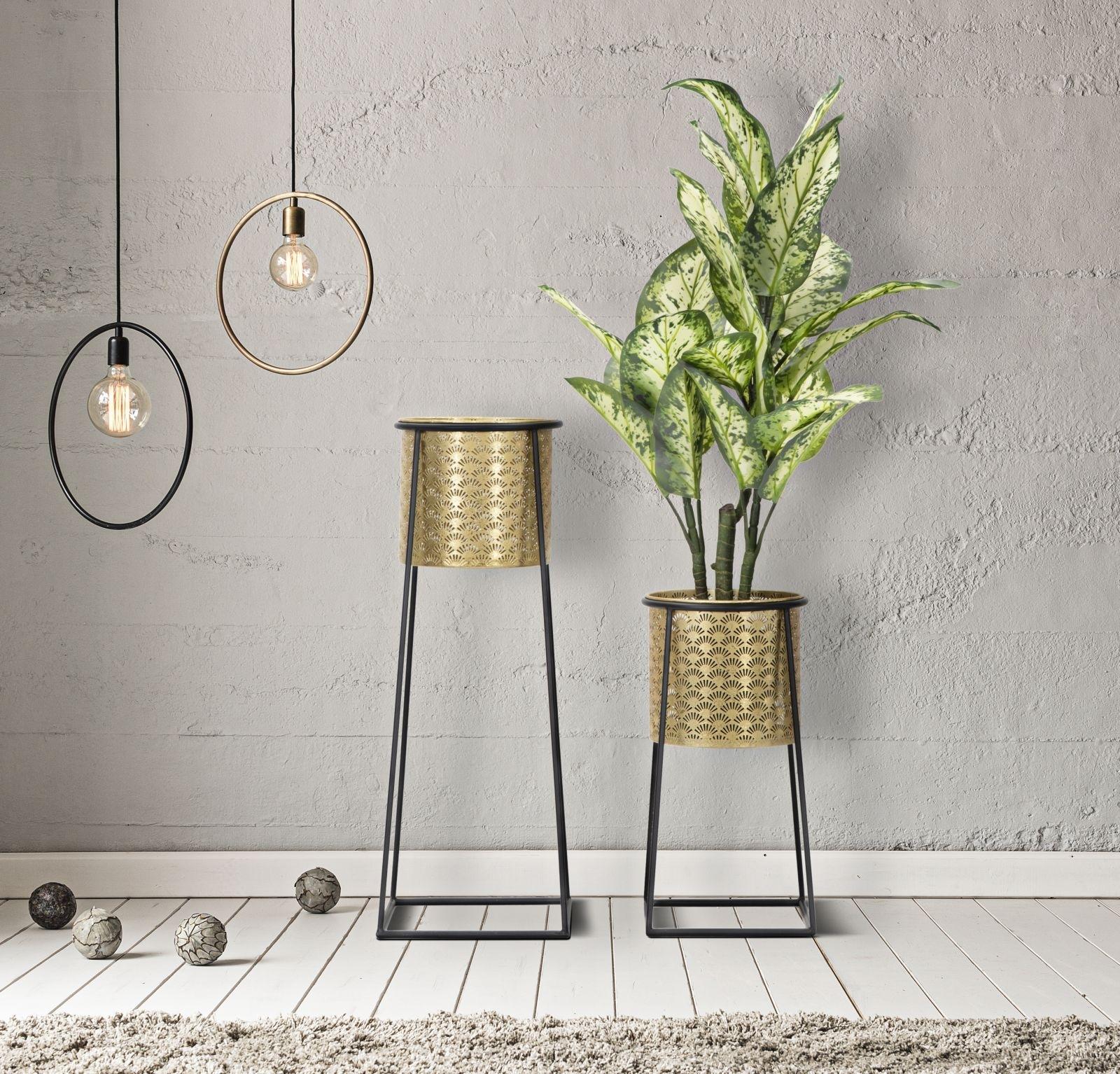 Set 2 suporturi ghivece din metal Flower Cup Auriu, Ø26xH70 / Ø23xH45 cm