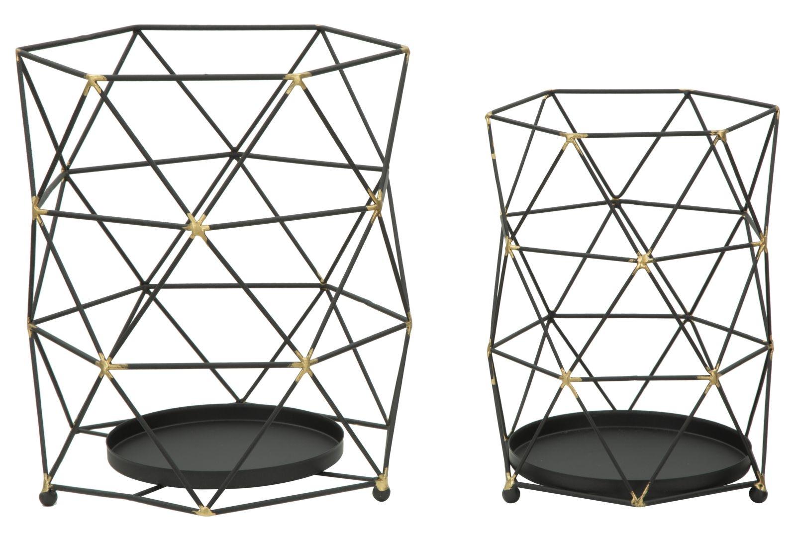 Set 2 Suporturi metalice pentru lumanari Bright Black O23xH26 / O18xH25 cm