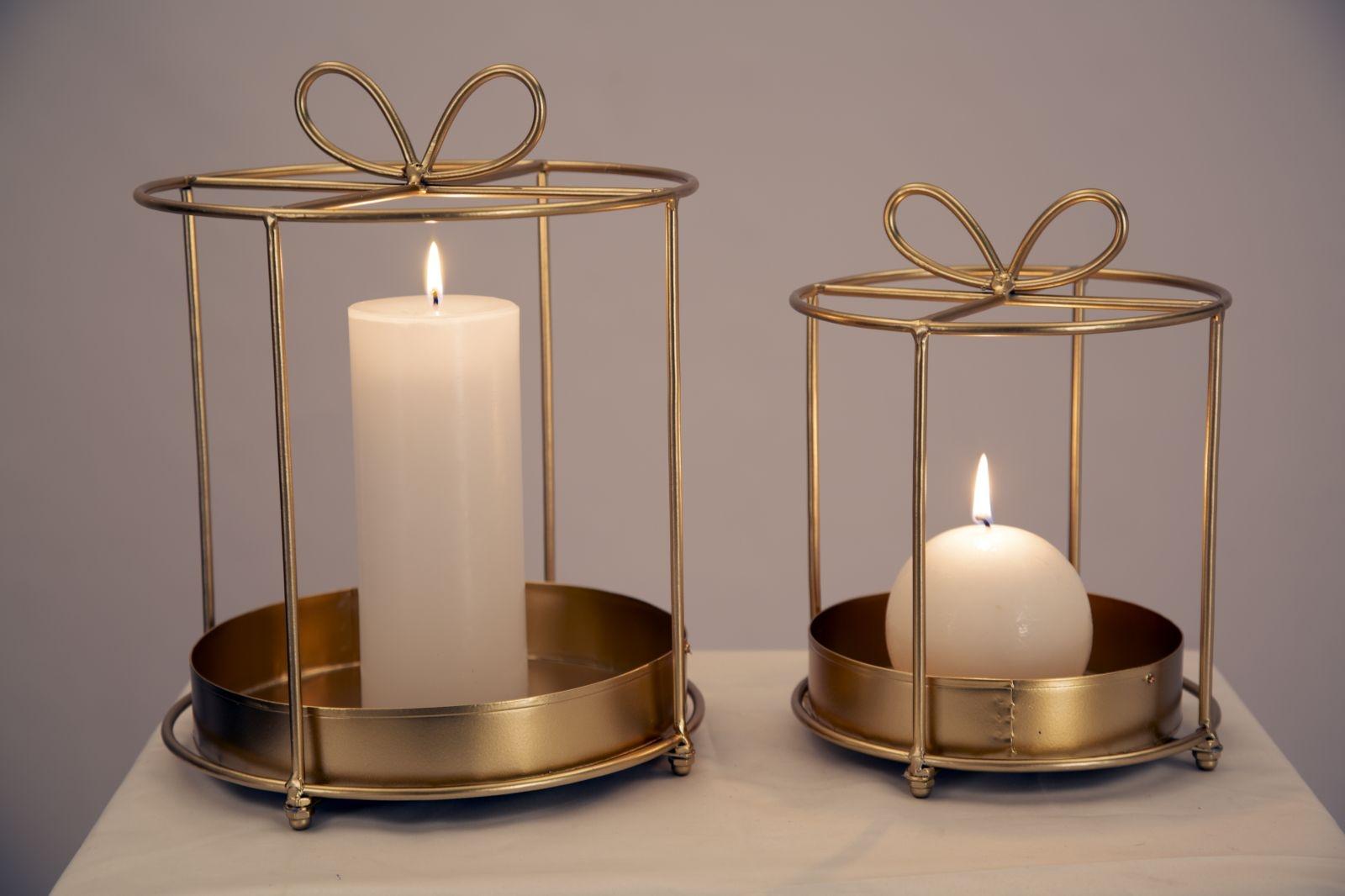 Set 2 suporturi metalice pentru lumanari Glam Gift Auriu, Ø22,8xH29 / Ø17,7xH24 cm imagine