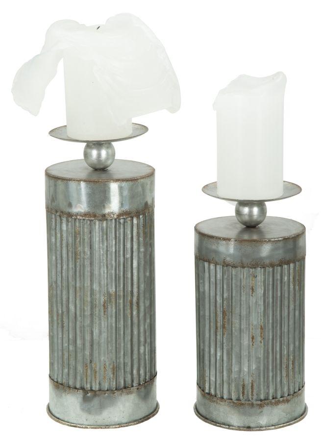 Set 2 Suporturi metalice pentru lumanari Illinois Grey O125xH31 / O125xH25 cm