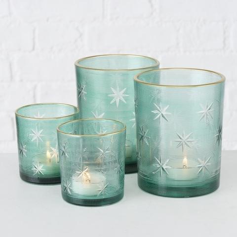 Set 2 suporturi pentru lumanari, din sticla Salvia Verde, Modele Asortate, Ø7xH8 cm / Ø10xH12 cm poza
