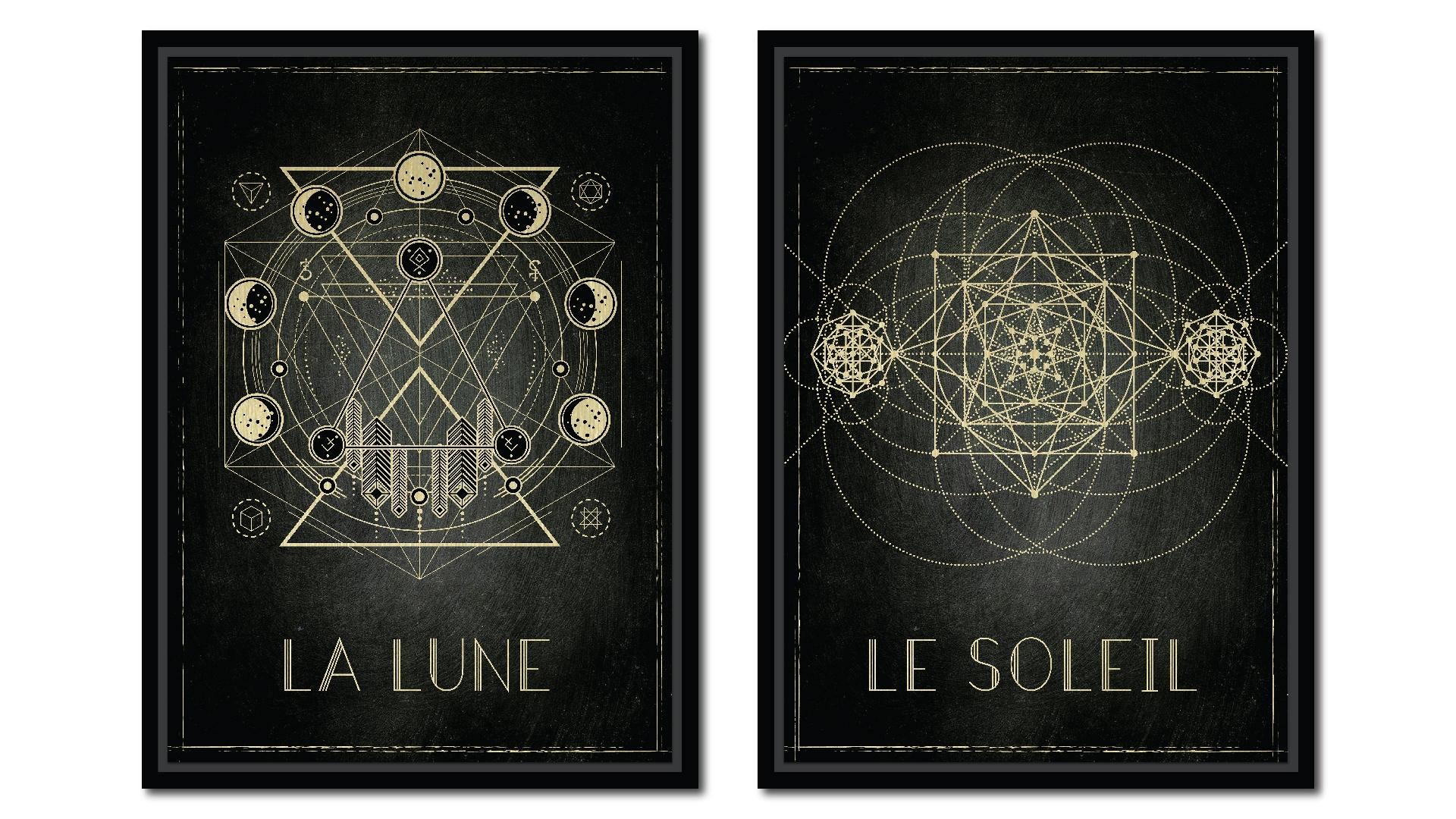 Set 2 tablouri pe metal striat auriu