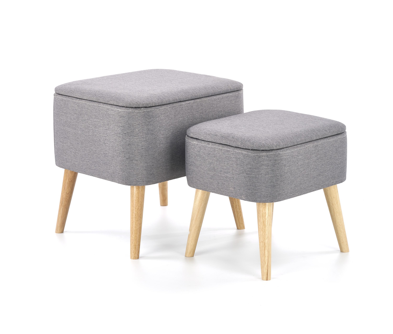 Set 2 taburete tapitate cu stofa, cu picioare din lemn Paula Grey / Natural, l49xA43xH46 / l41xA34xH38 cm imagine