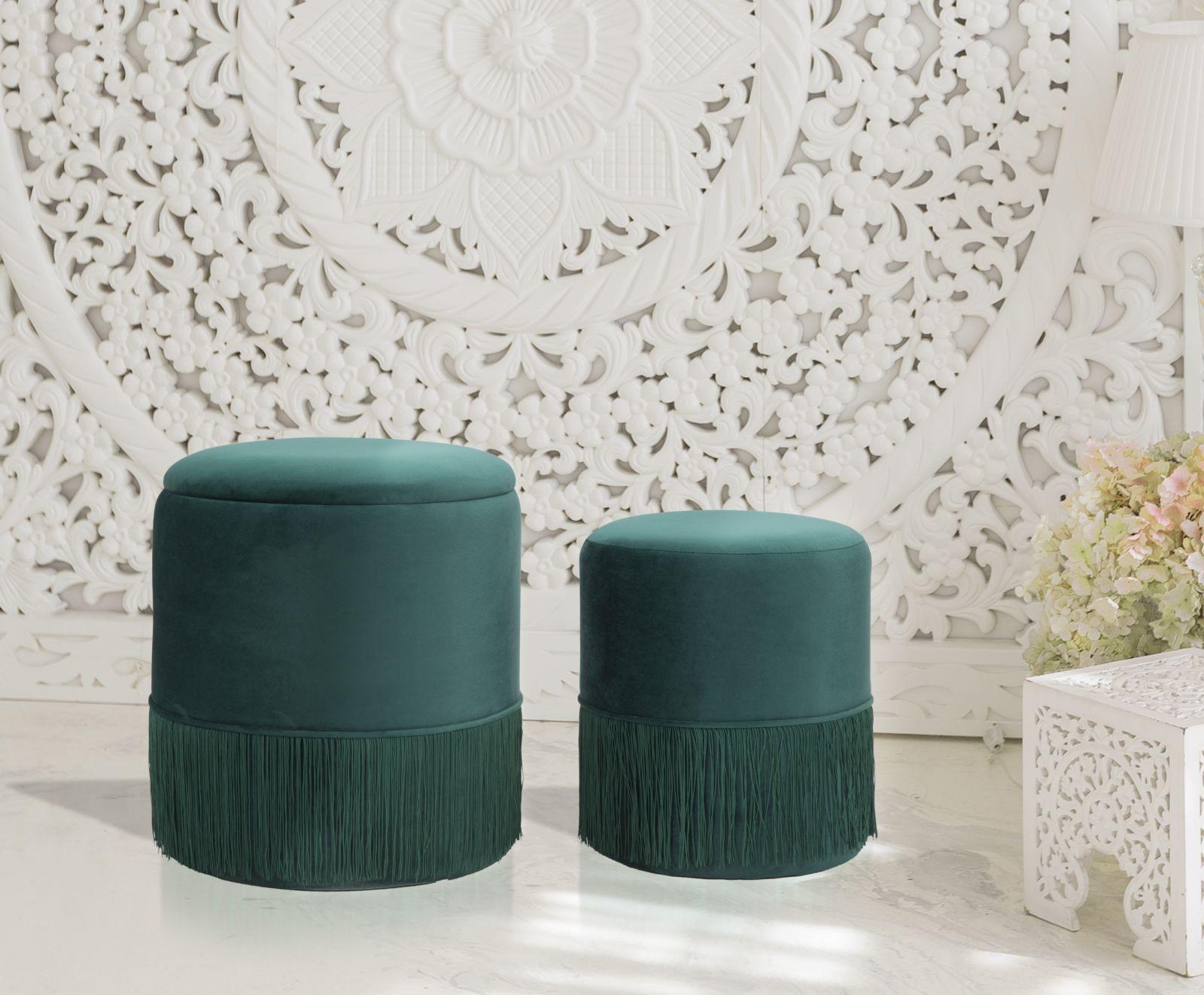 Set 2 taburete tapitate cu stofa Lines Velvet Verde, Ø35xH42 / Ø30xH32 cm