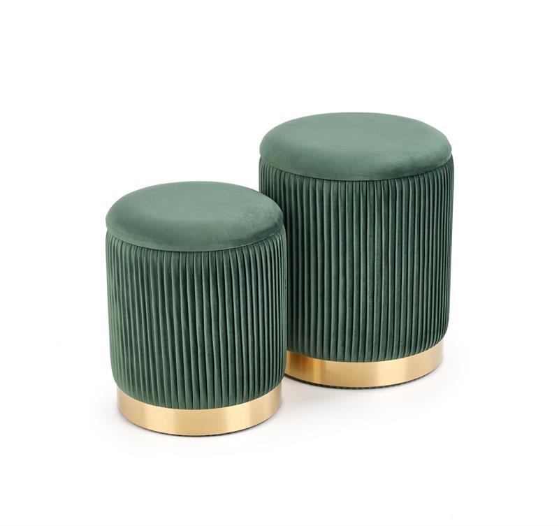 Set 2 taburete tapitate cu stofa si spatiu de depozitare Monty Velvet Verde inchis / Auriu, Ø44xH36 / Ø38xH31 cm imagine