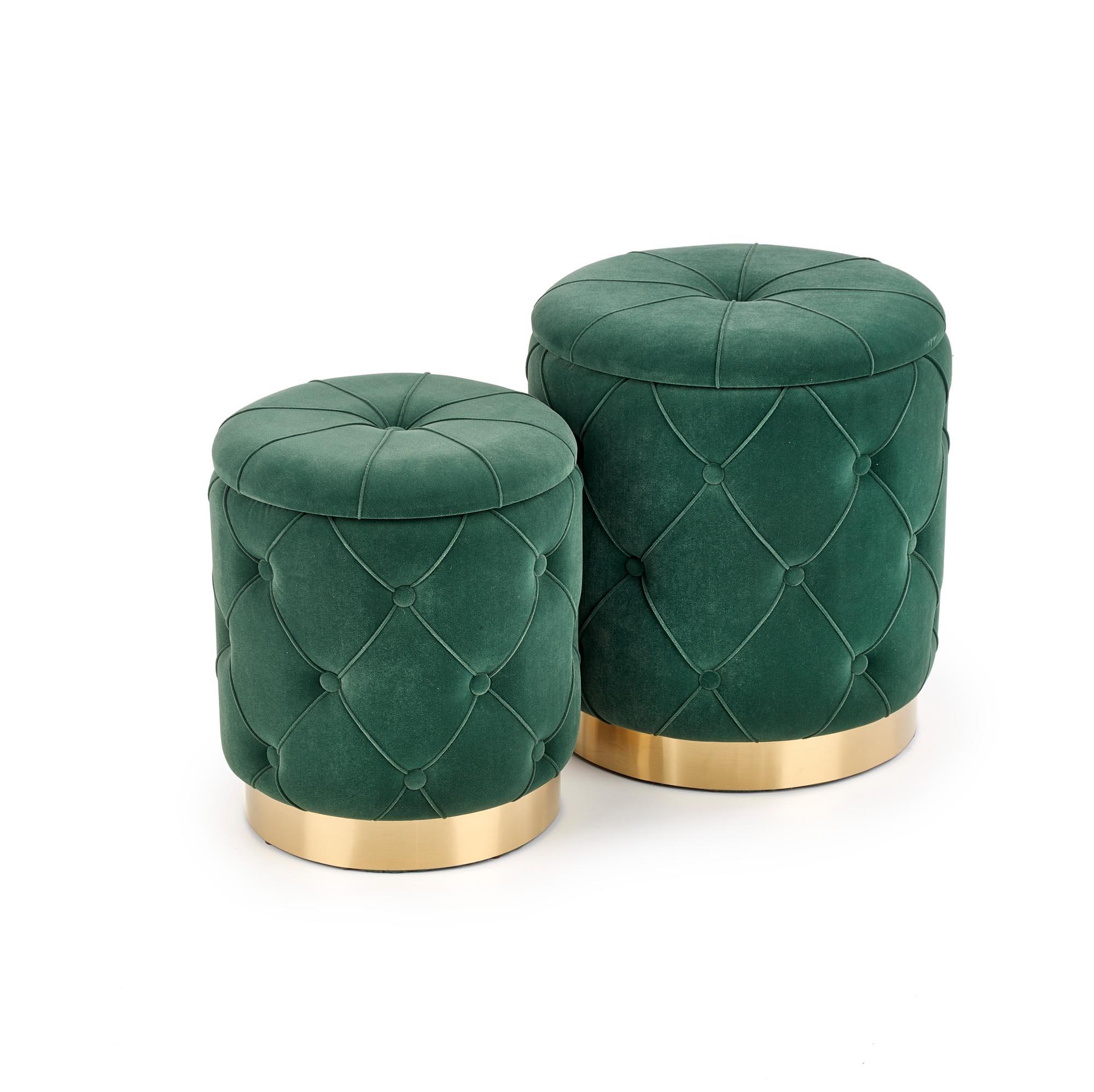 Set 2 taburete tapitate cu stofa si spatiu de depozitare Polly Verde inchis, Ø40xH44 / Ø33xH38 cm