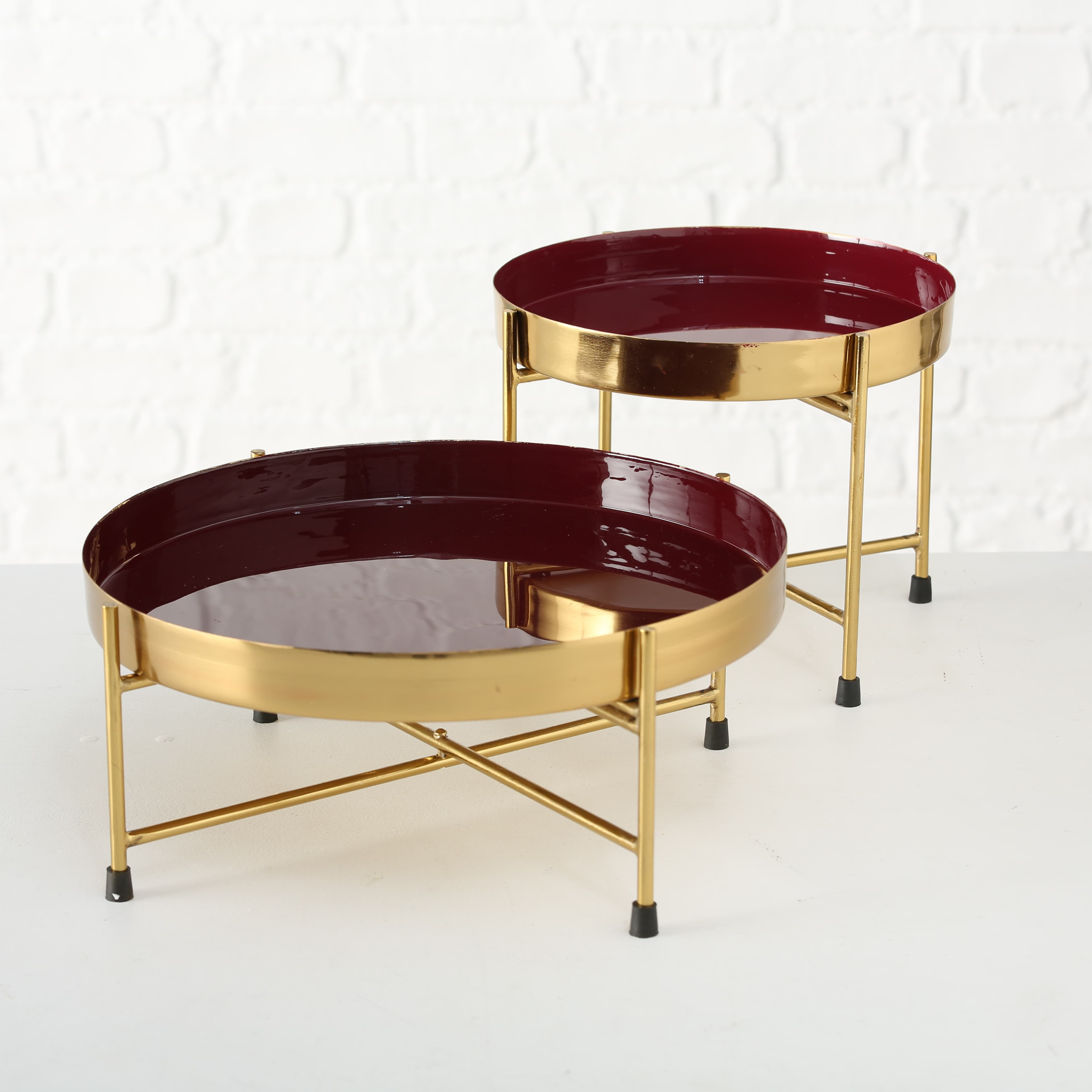 Set 2 tavi decorative metalice cu suport Asani Auriu / Bordeaux, Ø30xH14 / Ø22xH20 cm poza