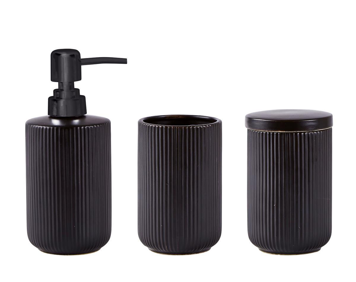 Set 3 accesorii baie din ceramica, Black, Kj imagine