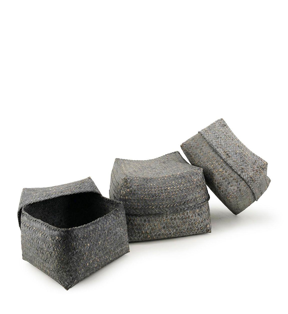 Set 3 cosuri pentru depozitare Bamboo Square Gri, Ø30xH18 cm / Ø26xH16 cm / Ø23xH15 cm