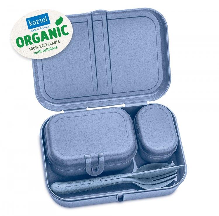 Set 3 cutii pentru pranz si tacamuri, 100% Reciclabil, Pascal Ready Organic Bleu, L23,2xl16,6xH6,2 cm