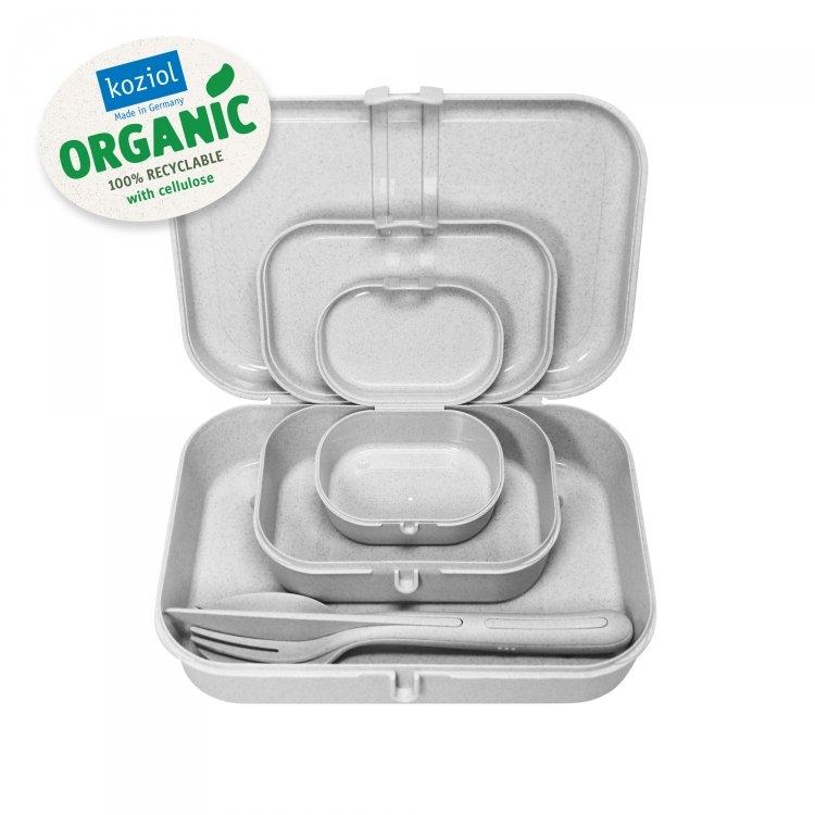 Set 3 cutii pentru pranz si tacamuri, 100% Reciclabil, Pascal Ready Organic Gri, L23,2xl16,6xH6,2 cm poza