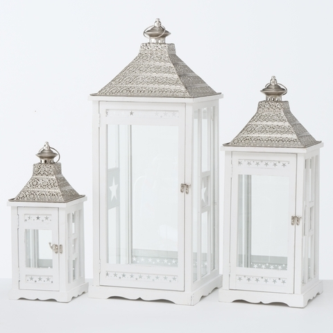 Set 3 felinare decorative din lemn Kubino Alb, L32xl32xH81 cm / L25xl25xH65 cm / L18xl18xH45 cm