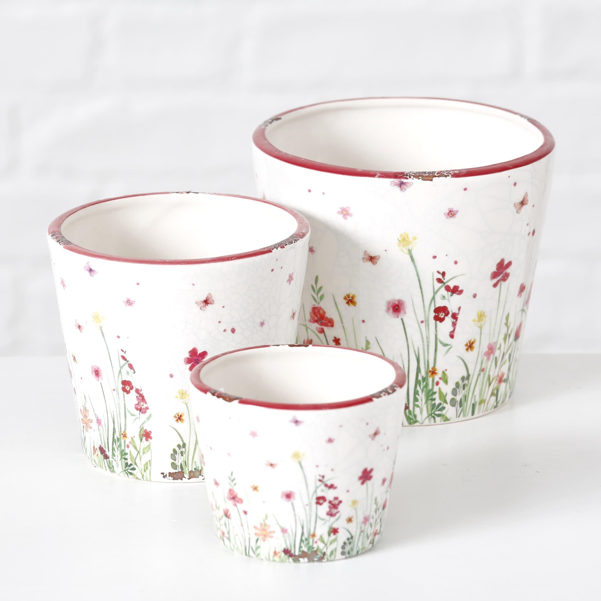 Set 3 ghivece din ceramica Flowery Multicolor, Ø16xH14 cm / Ø14xH12 cm / Ø10xH8 cm