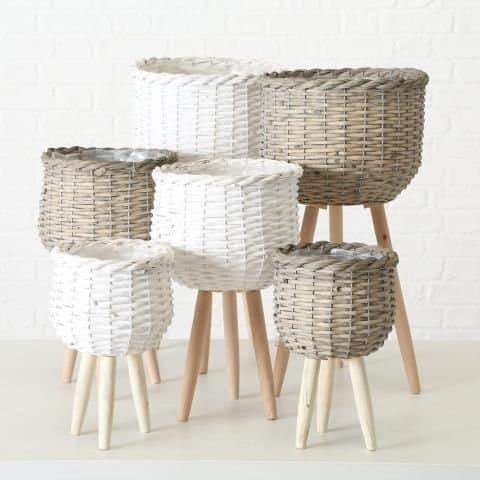 Set 3 ghivece din lemn Luy Alb / Natural, Modele Asortate, Ø30xH58 cm / Ø26xH45 cm / Ø20xH33 cm imagine