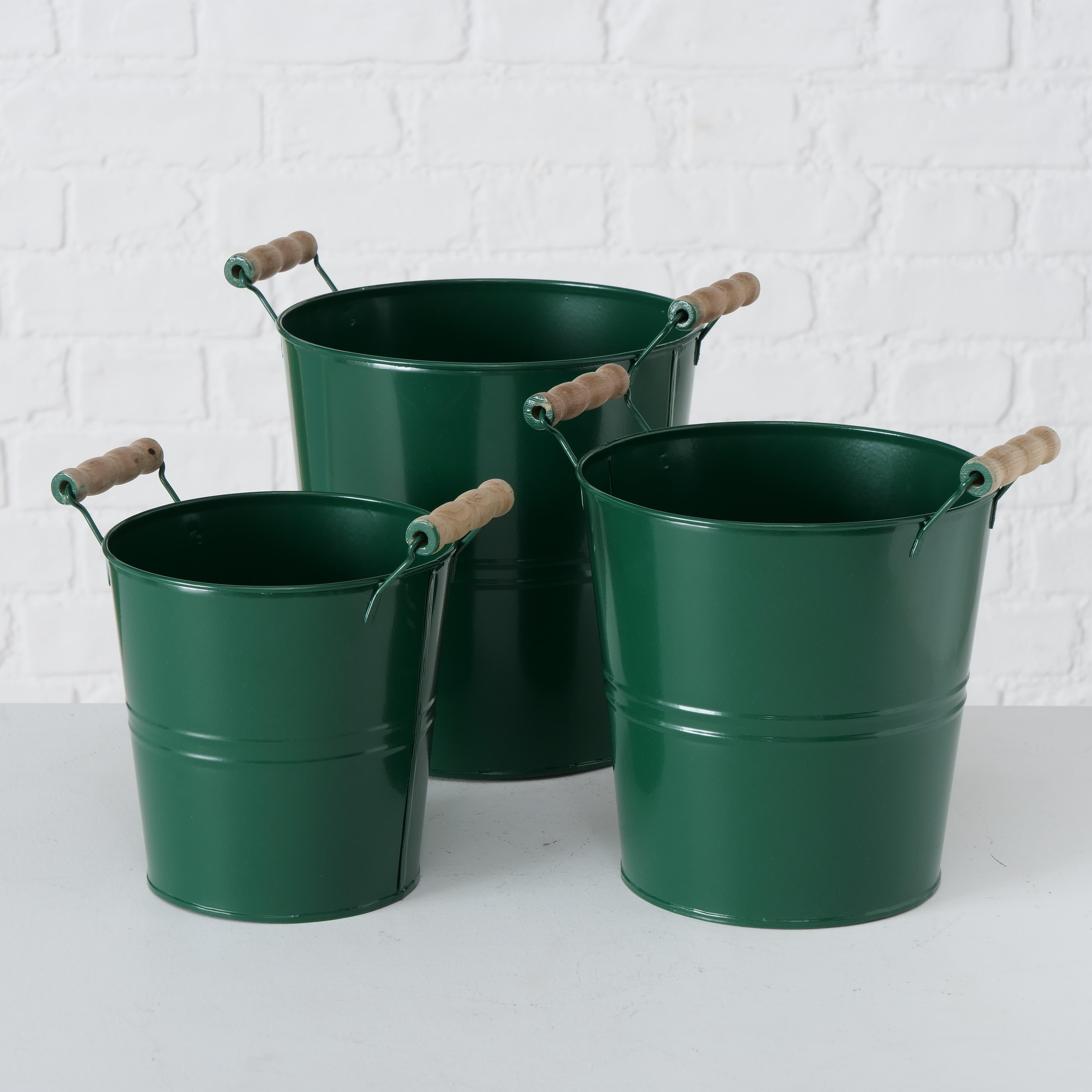 Set 3 ghivece din metal Oxford Verde, Ø20xH23 cm / Ø18xH21 cm / Ø15xH18 cm