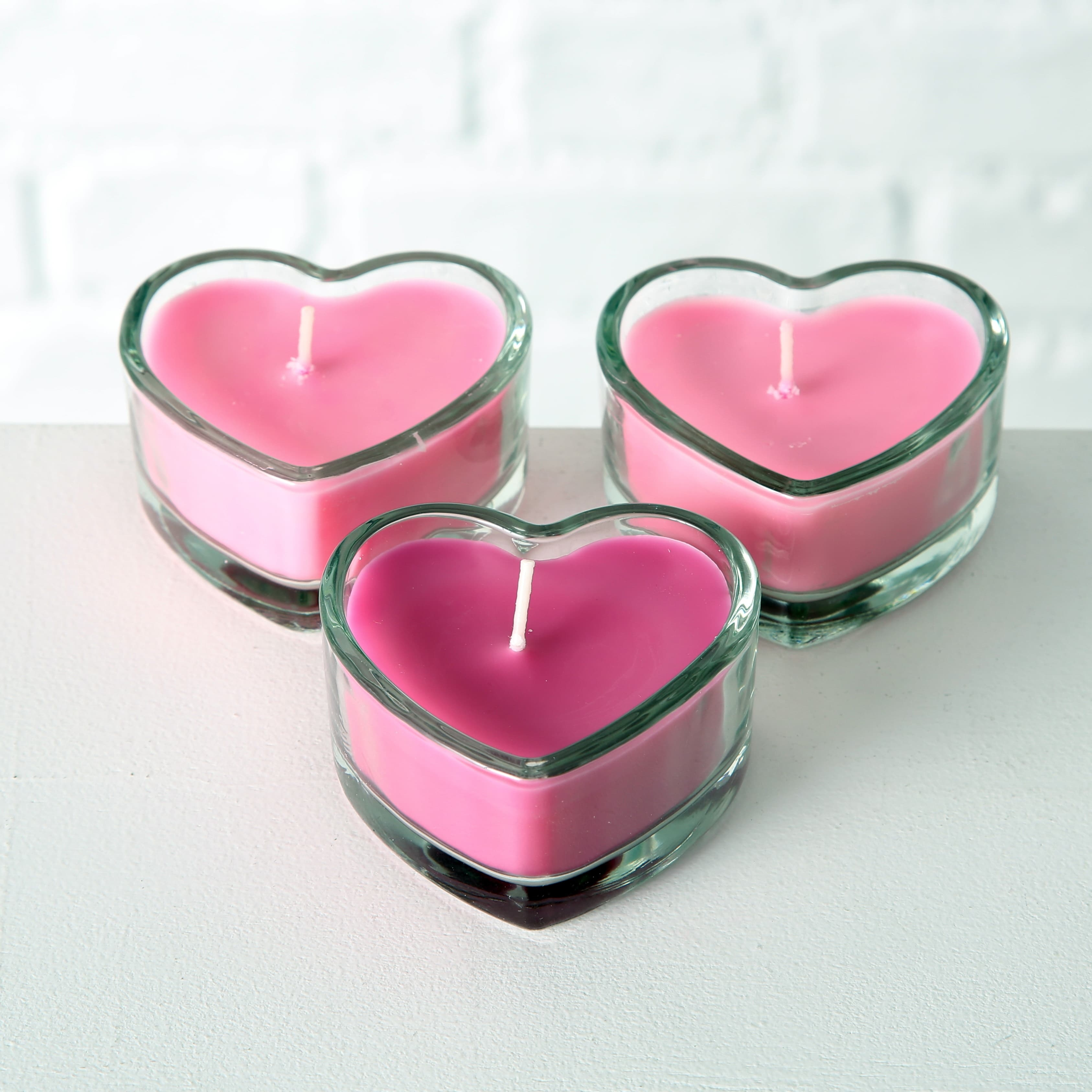Set 3 lumanari ornamentale Heart Roz / Fucsia, L8xl8xH4 cm