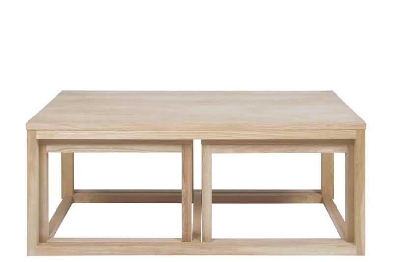 Set 3 mese de cafea, din lemn si furnir Cornus Ivory, L120xL60xH50 cm imagine