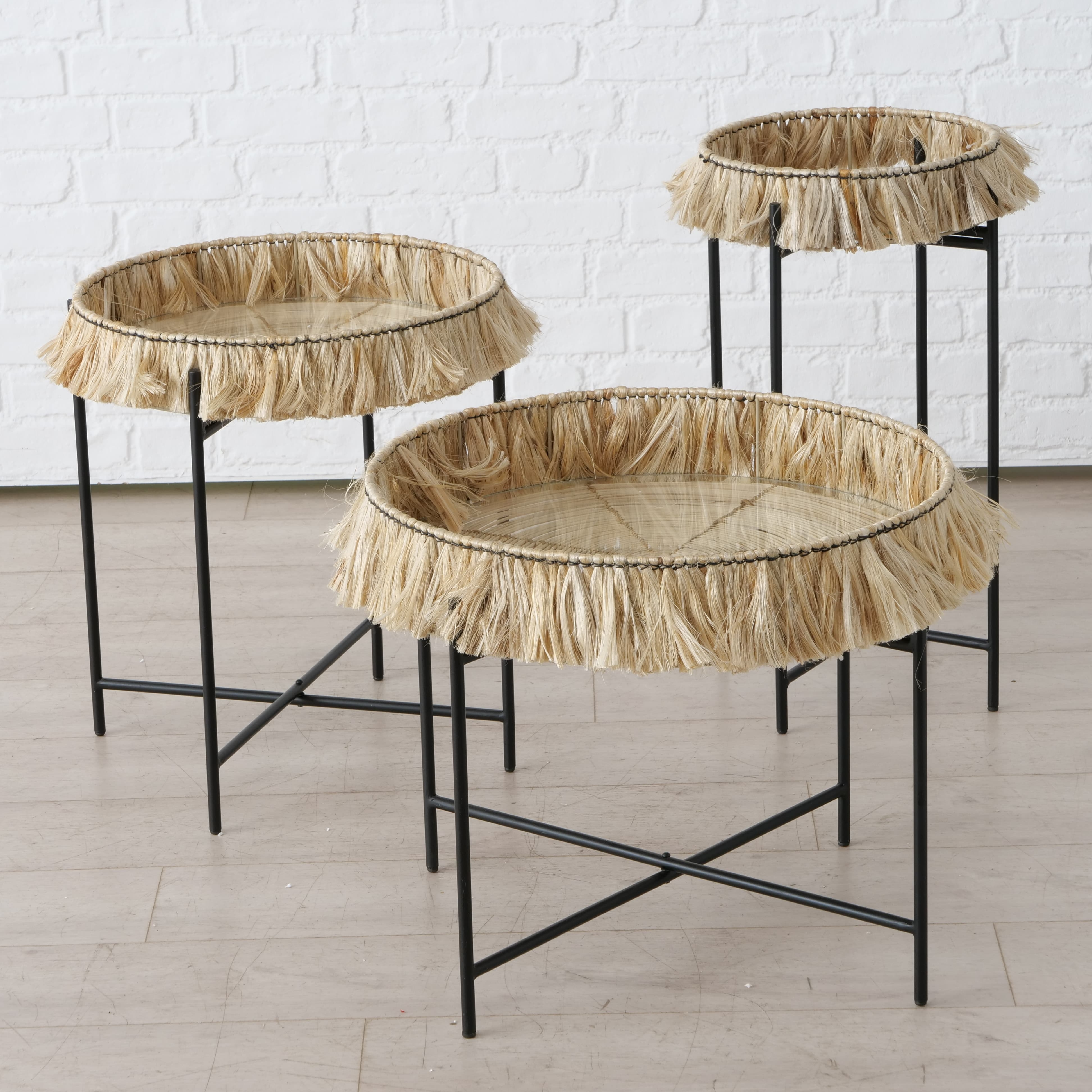 Set 3 masute de cafea din sticla, bambus si metal Banjar Negru / Natural, Ø57xH48 / Ø47xH54 / Ø33xH65 cm poza