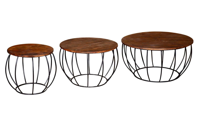 Set 3 mese de cafea din lemn de salcam si metal Durango Natural O90xH48 / O70xH48 / O50xH48 cm