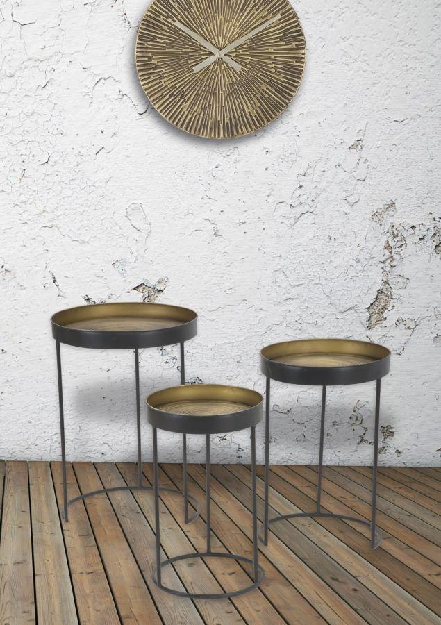 Set 3 mese de cafea din metal Basket Grafit / Alama, Ø42,5xH60 / Ø35,5xH54 / Ø30,5xH49 cm poza