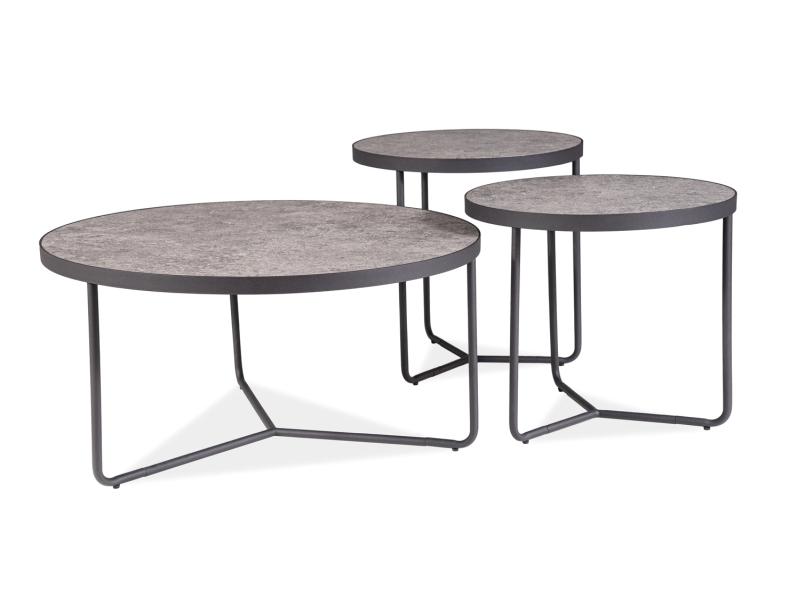Set 3 mesele de cafea din MDF si metal Demeter Negru / Gri, Ø80xH40 cm / Ø50xH50 cm / Ø50xH45 cm poza