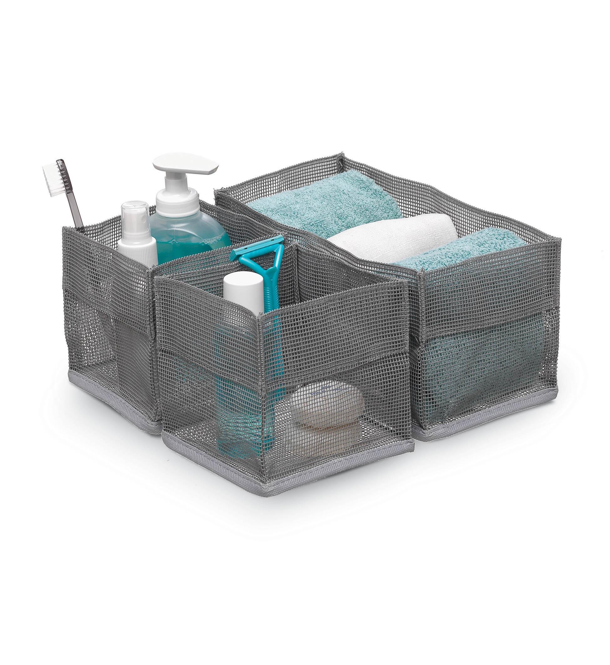 Set 3 organizatoare pentru cosmetice Bagno Gri / Alb, Modele Asortate, L12xl12xH12 cm / L24xl12xH12 cm imagine