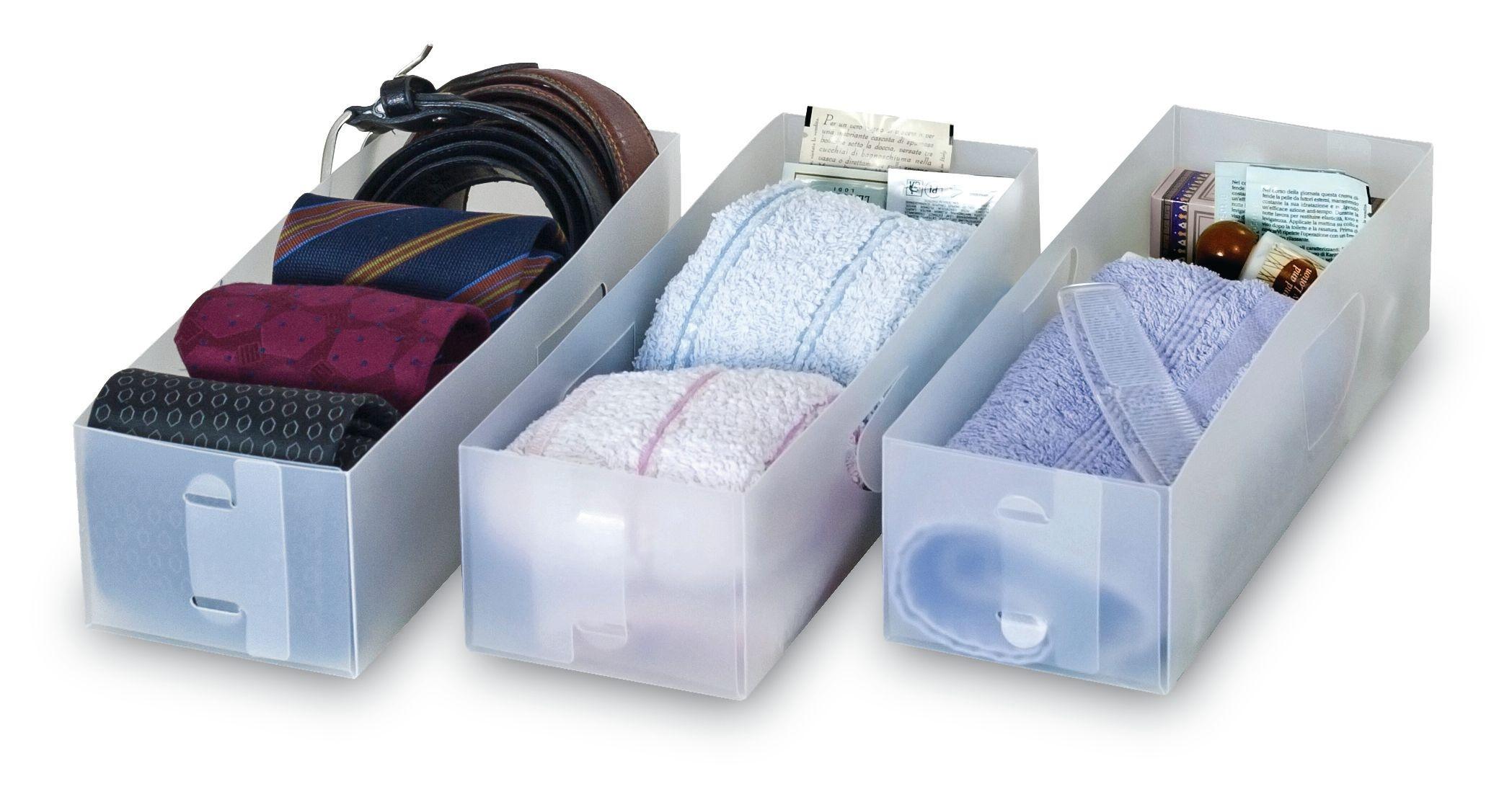 Set 3 organizatoare pentru sertar, Divisar Small Transparent, L30xl10,5xH8 cm poza