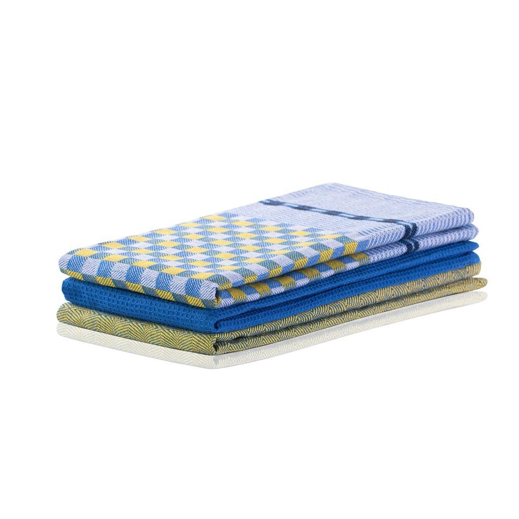 Set 3 prosoape de bucatarie Louie Galben / Albastru Inchis, 50 x 70 cm imagine