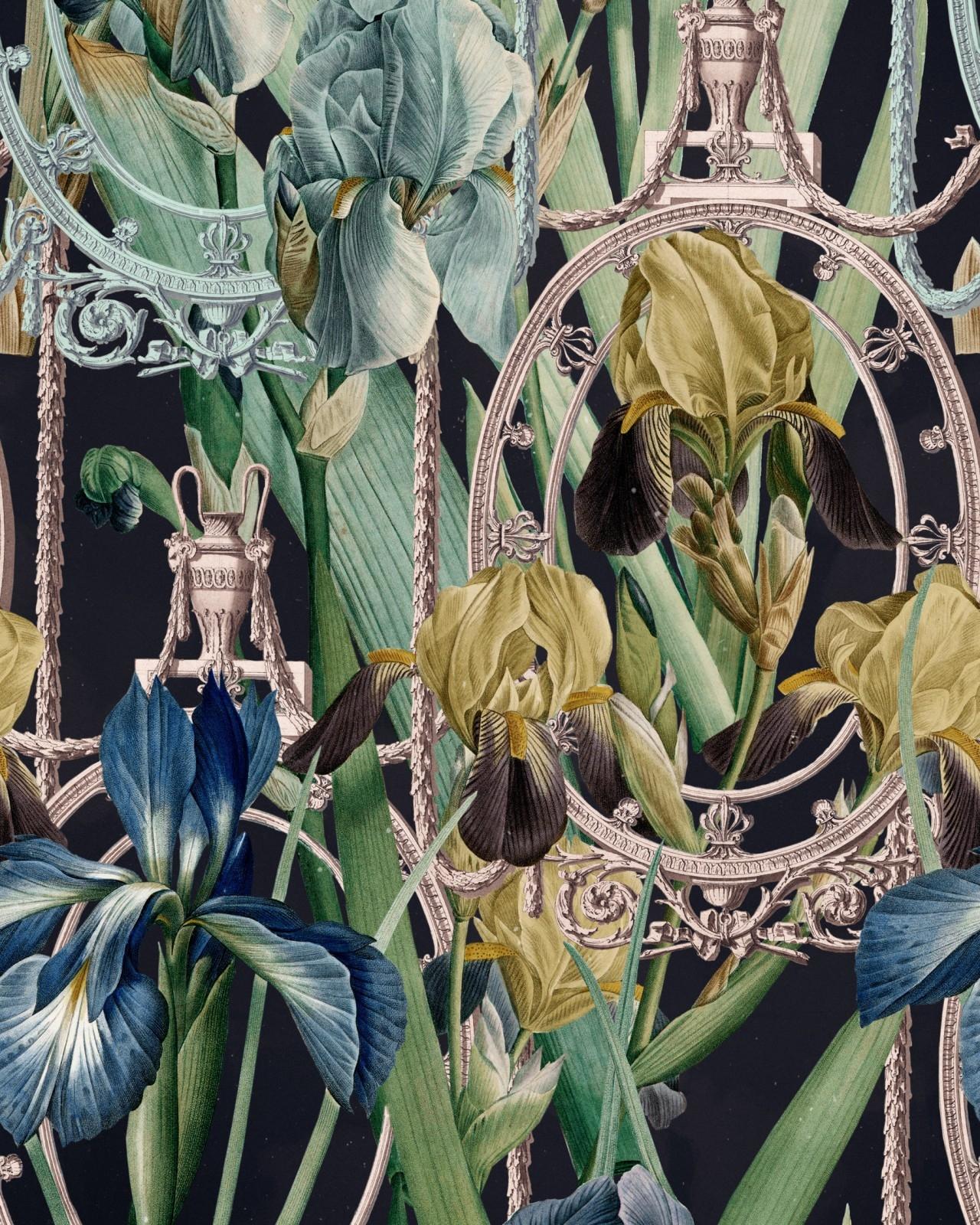 Set Role Tapet Imprimat Digital Fleurs D'iris Anthracite - 5645