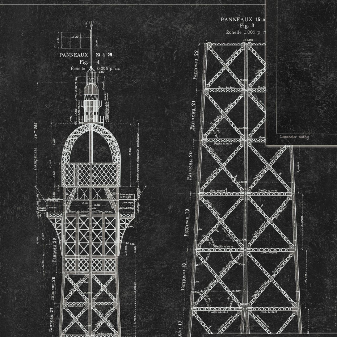 Poza Set Role Tapet Imprimat Digital Grand Eiffel Anthracite