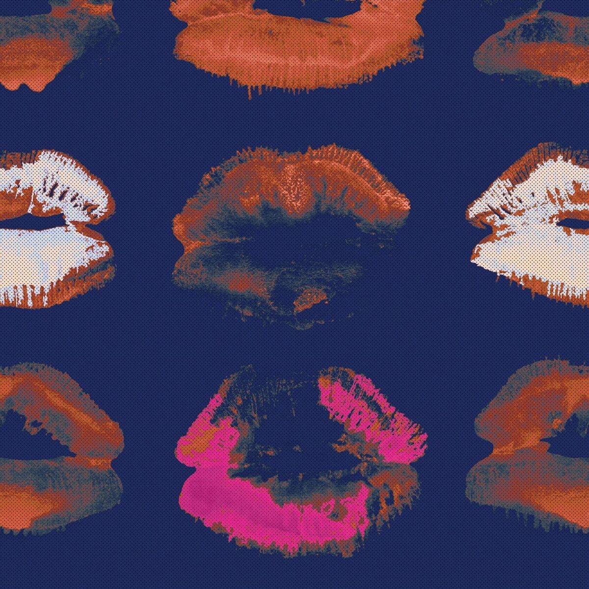 Set 3 role Tapet Imprimat Digital Neon Kiss Indigo
