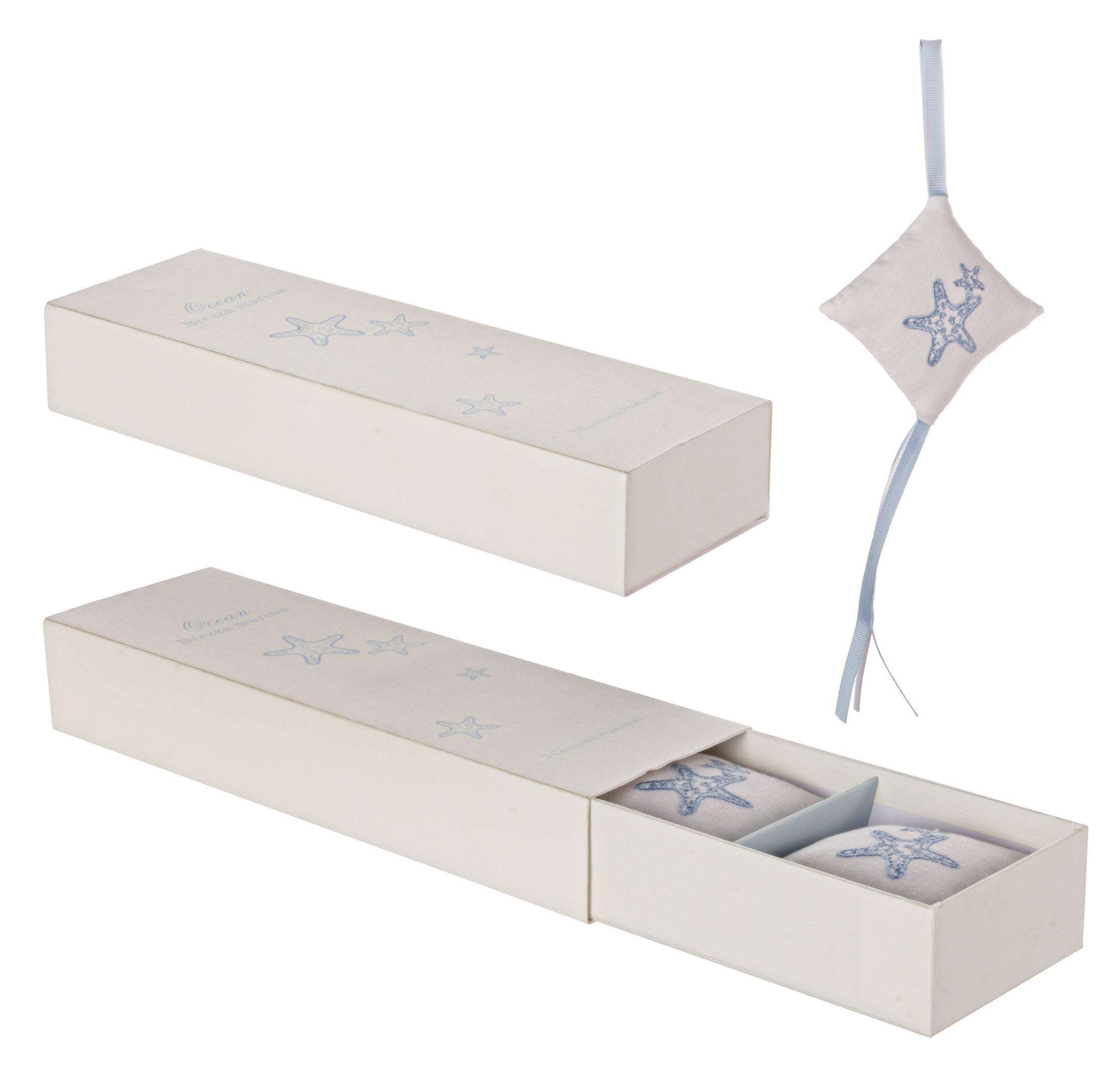 Set 3 saculeti parfumati si cutie cadou Ocean Alb / Albastru, L26xl8,5xH4,5 cm imagine