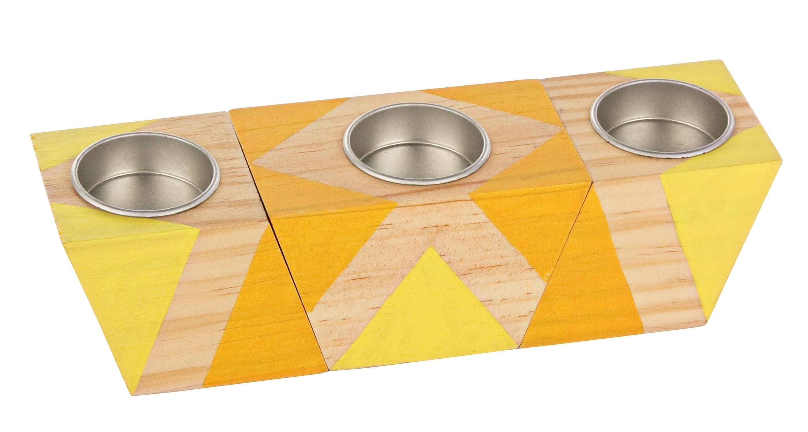 Set 3 suporturi din lemn pentru lumanari Rectangular Multicolor imagine