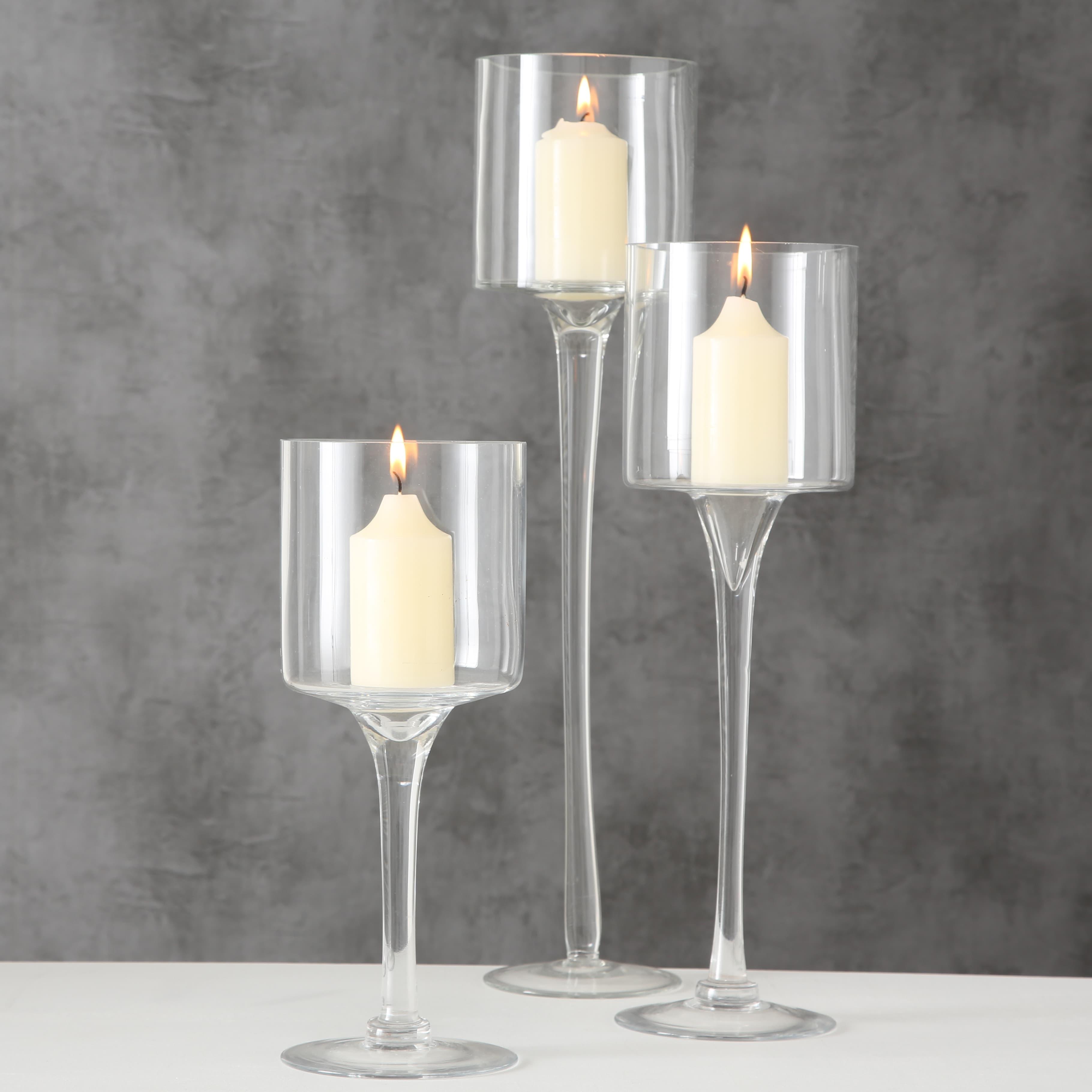 Set 3 suporturi din sticla pentru lumanari Arosa Transparent, Ø12xH30 cm / Ø12xH40 cm / Ø12xH50 cm imagine