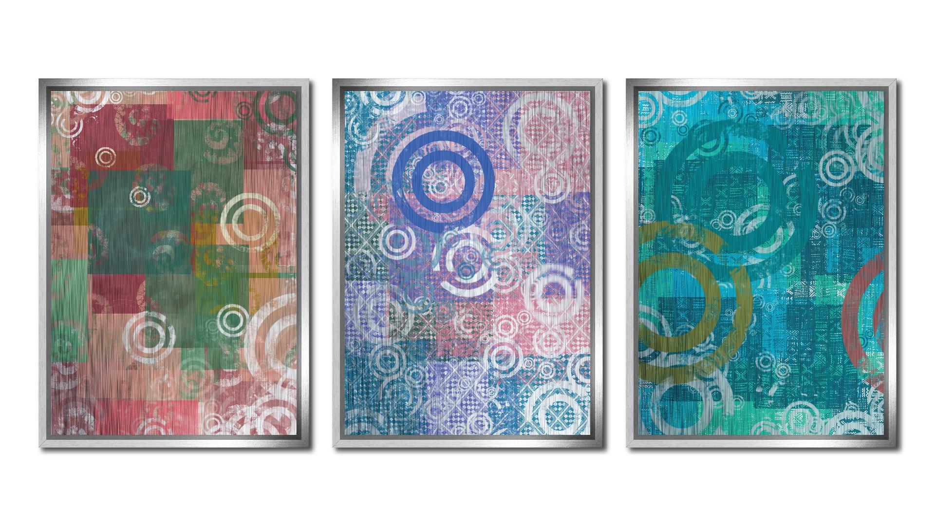 Set 3 tablouri pe metal striat argintiu Insights
