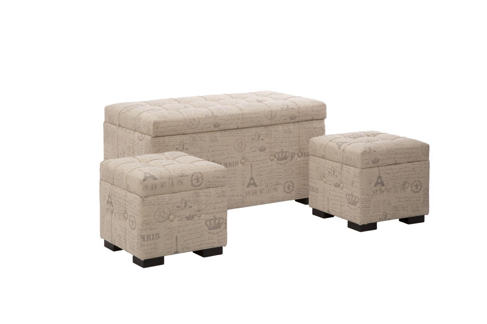 Set 3 tabureti cu spatiu de depozitare Paris Beige l103xA51xH55 / l43xA43xH40 cm