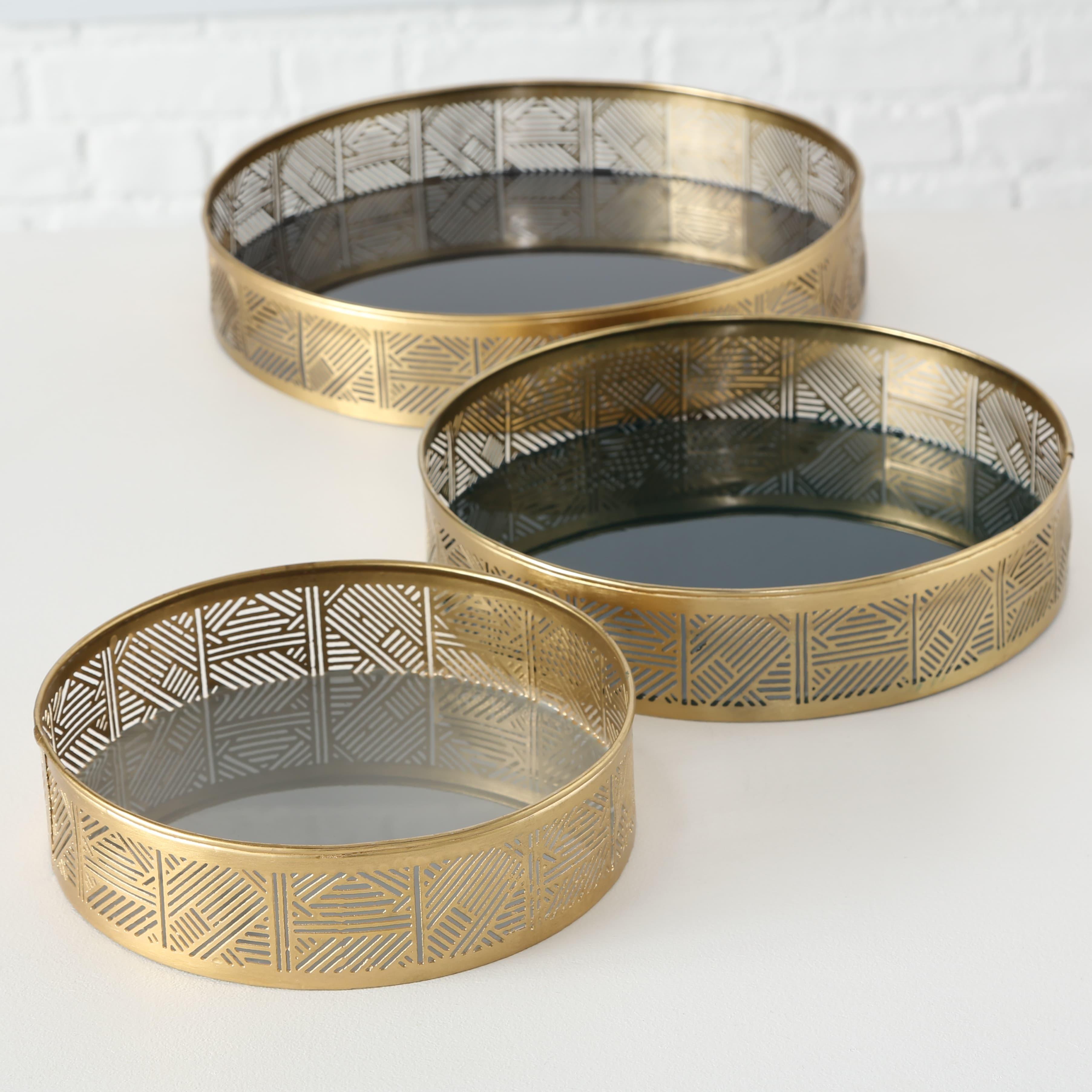 Set 3 tavi decorative metalice Astair Auriu, Ø30xH6 / Ø25xH5,5 / Ø20xH5 cm poza