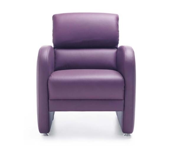 Fotoliu tapitat cu piele ecologica Set Purple l70xA85xH108 cm