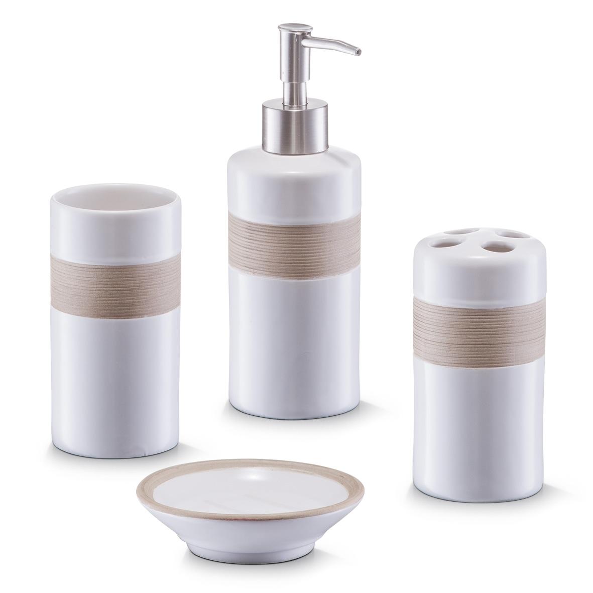 Set 4 accesorii pentru baie din ceramica, Beige / Brown imagine