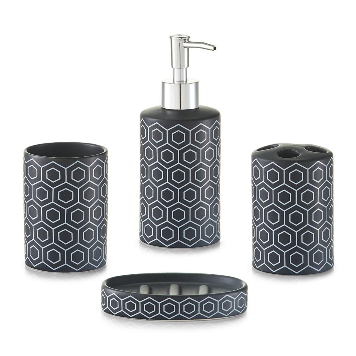 Set 4 accesorii pentru baie din ceramica Black / White