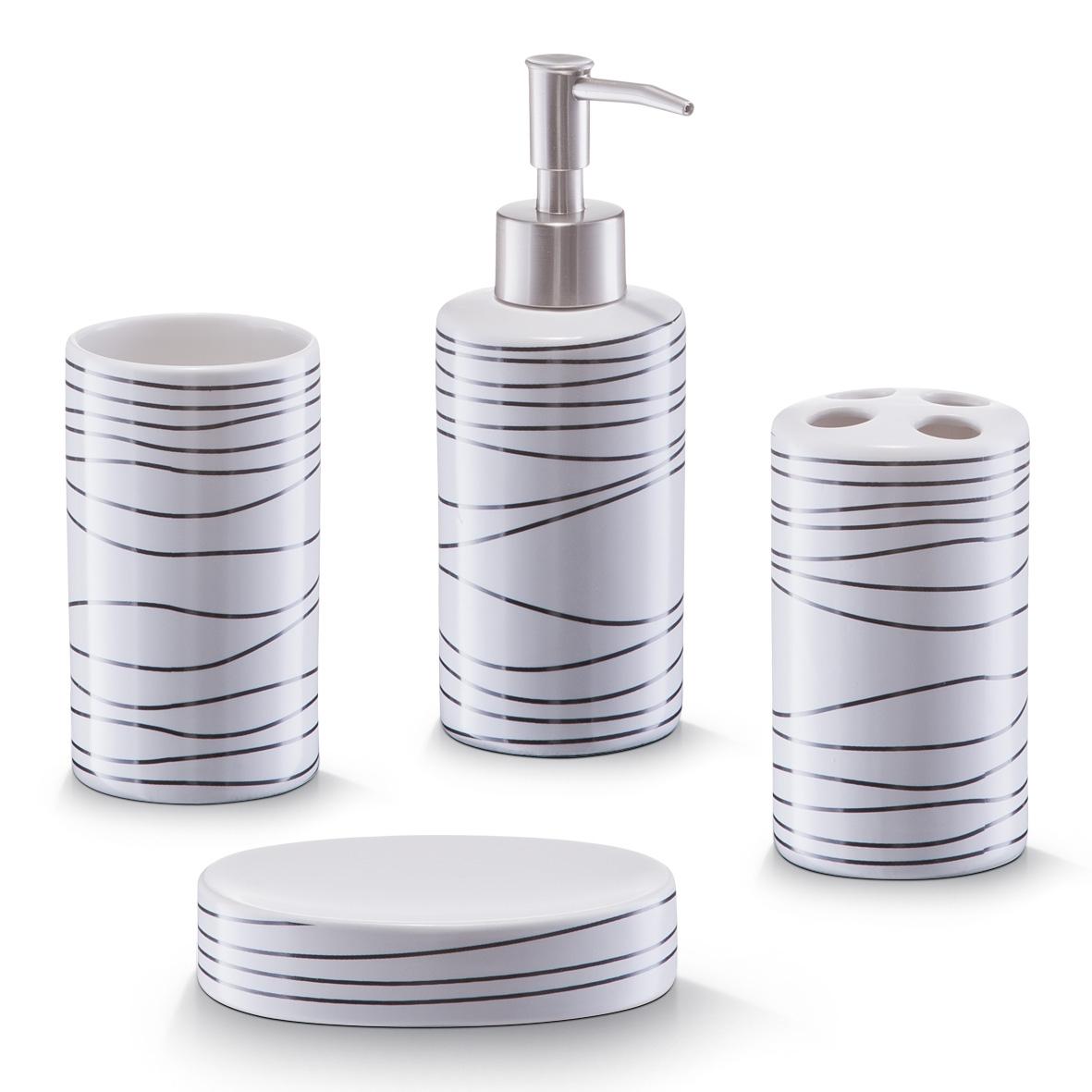Set 4 accesorii pentru baie din ceramica Lines White