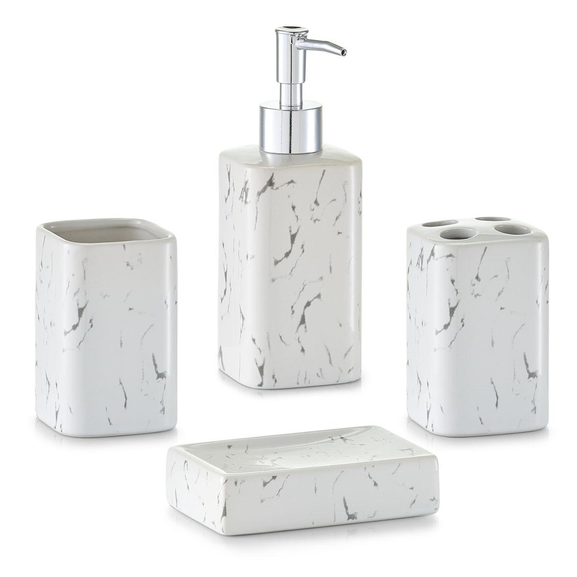 Set 4 accesorii pentru baie din ceramica Marble-Optics White