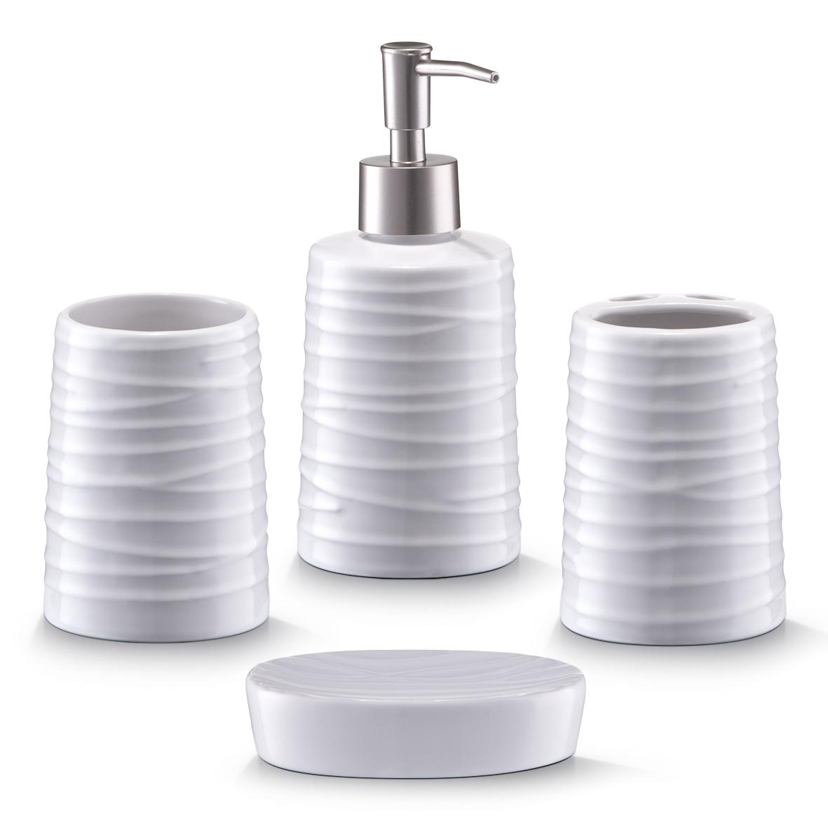Set 4 accesorii pentru baie din ceramica, White poza