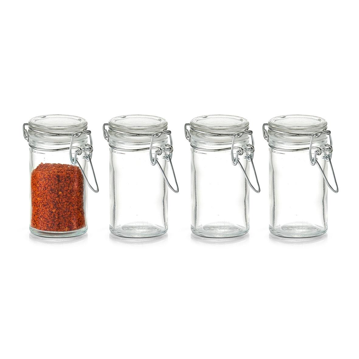 Set 4 borcane pentru depozitare Mini, inchidere ermetica, 100 ml, Ø 4,5xH8,4 cm