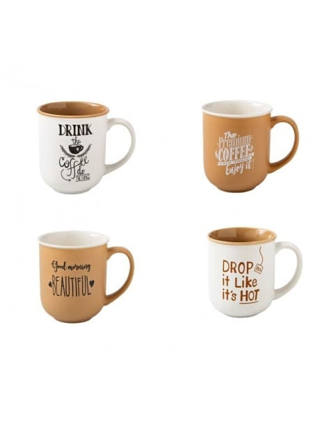 Set 4 cani din portelan, Coffe Colection Alb / Maro, 350 ml somproduct.ro