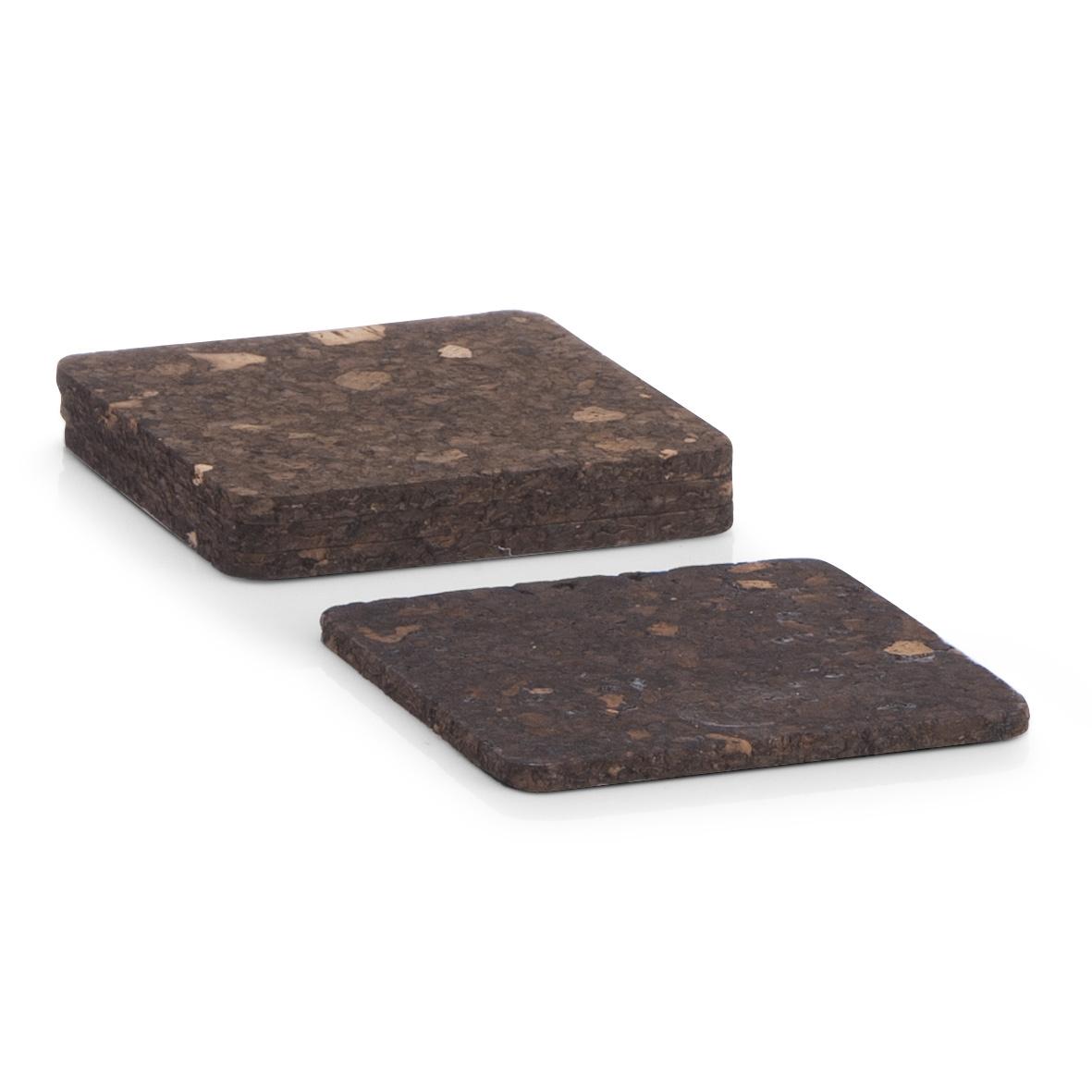 Set 4 coastere Dark Brown, din pluta, l9,5xA9,5 cm poza