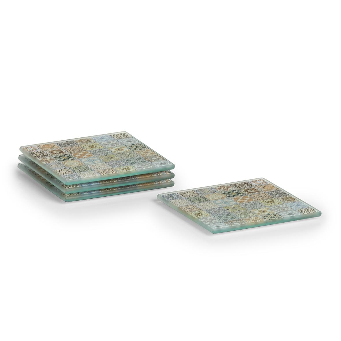 Set 4 coastere din sticla, Mosaic Multicolor, L10xl10 cm poza