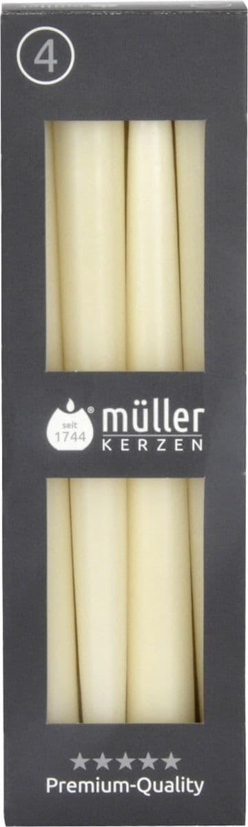 Set 4 lumanari conice Vanilla Crem, Ø2xH24,5 cm imagine